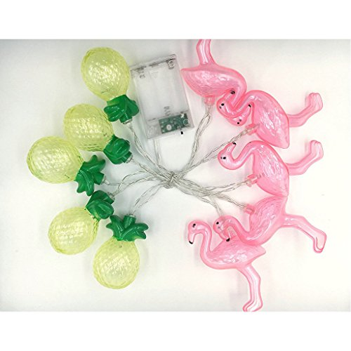 JUN 5.4Ft Tropical Style Flamingo & Pineapple Fairy String Lights with 10pc LED Lamps Lighting for Holiday Party Decoration Girls Gift Home Decoration Lights, Battery Powered(not included)