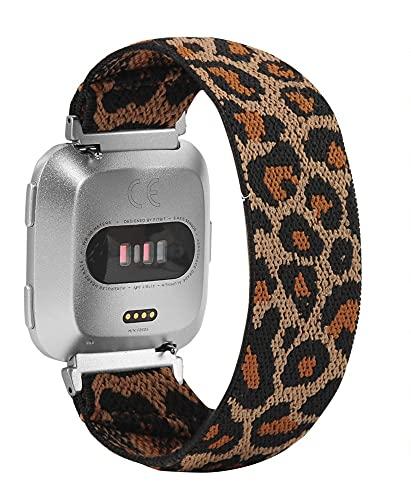 Correa de Repuesto Compatible con Apple Watch 38 /42mm Correa de muñeca elástica de Nailon Suave de Moda Estirada Solo Correa iWatch Compatible con iPhone 6 5 4 3 (Small 4.7-6.3inch,Yellow Leopard)