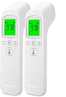 Forehead Thermometer Non-Contact Digital Infrared Thermometer with 3 Colors Display Fever Alarm Body & Object Thermometer with Certified for Baby Adults(2Pcs)
