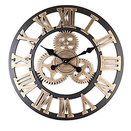Rond Style loft Industriel Horloges Bois Silencieuse Ponctuel R/étro D/écoration pour Bar Restaurant Cafe-E d:39cm UNILIFE American Vintage Grande Pendules murales