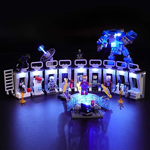 BRIKSMAX Kit de Iluminación Led para Lego Super Heroes Iron Man Sala de Armaduras, Compatible con Ladrillos de Construcción Lego Modelo 76125, Juego de Legos no Incluido