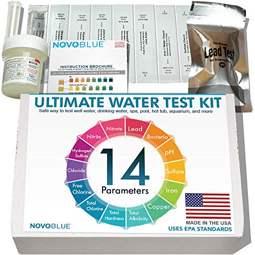 Product Image of the NovoBlue 14-in-1 Home Water Test Kit - Great for Well, Pool, Spa, Hot Tub, Aquarium, and Drinking Water - Detects Lead, Bacteria, Chloride, Chlorine, pH, and More! Made in The USA