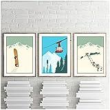 Sunglade Vintage Leinwand Wandkunst abstrakt Wintersport