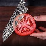 Joyspot Japanisches Santoku Messer, 7 inch Kochmesser Profi Messer Deutsche Karbon-Edelstahlmesser Extra Scharfe Messerklinge mit Ergonomischer Griff, Beste für Home Kitchen … - 6