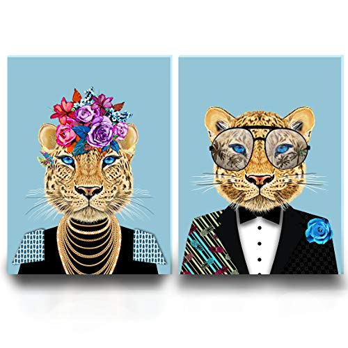 "Framed Canvas Wall Art - Suited Leopard Boho Wall Pictures Prints for Home Wall Room Decor - Artwork Paintings Set for Living Room Bedroom and Kitchen(11.8"" x 15.75"" x2 Panels, Blue Leopard)"