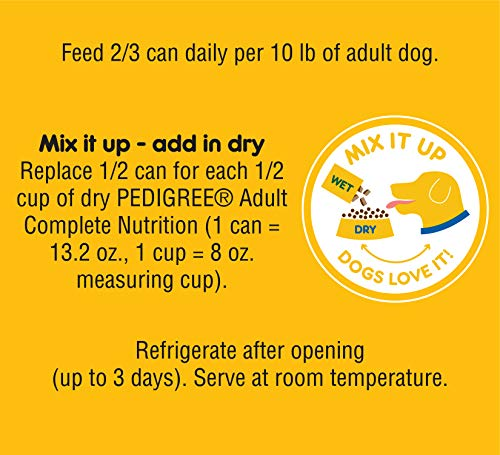 Pedigree Chopped Ground Dinner Bacon Cheeseburger Flavors Adult Canned Wet Dog Food, (12) 13.2 Oz. Cans