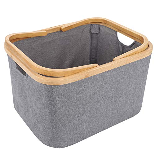 HOKEMP Bamboo Laundry Baskets with Dual Built in Handles Built Detachable Brackets Linen Laundry Hampers for Bathroom Bedroom Home Toys and Clothing Organization Grey Portable