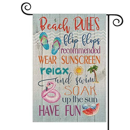 Beach Rules - Chanclas verticales de madera para jardín (doble tamaño, relajarse, divertirse, verano, patio, decoración al aire libre, 30 x 45 cm)