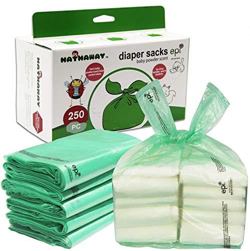 Sacos de pañales con fragancia de polvo de bebé, desechables, resistentes, 250 unidades