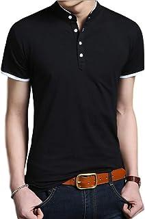 [ベンケ] ポロシャツ メンズ 半袖 長袖 無地 ヘンリーネック ボタン Tシャツ カジュアル カットソー 春 秋 トップス