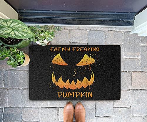 Halloween Doormat - Eat My Freaking Pumpkin 24x16 Inch Outdoor Front Door Mat Kitchen Mat for Floor Welcome Home