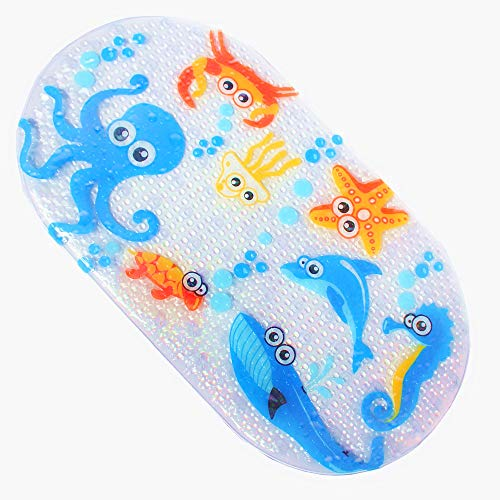 ILIKY Baby Children Shower Mat Non Slip for Kids with Suction Cups for Tub Natural PVC Octopus