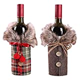 2pcs Christmas Wine Bottle Cover, Collar & Button Coat Design Wine Bottle Sweater, Button Coat Design Wine Bottle Bags For Xmas Party Decorations