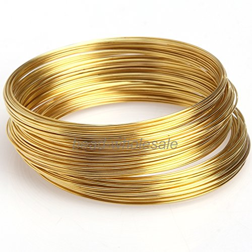 ILOVEDIY 100 Windungen Speicher Draht Memory Wire Spiraldraht Schmuckdraht für Armband Basteln (Golden, 0.6x60mm)