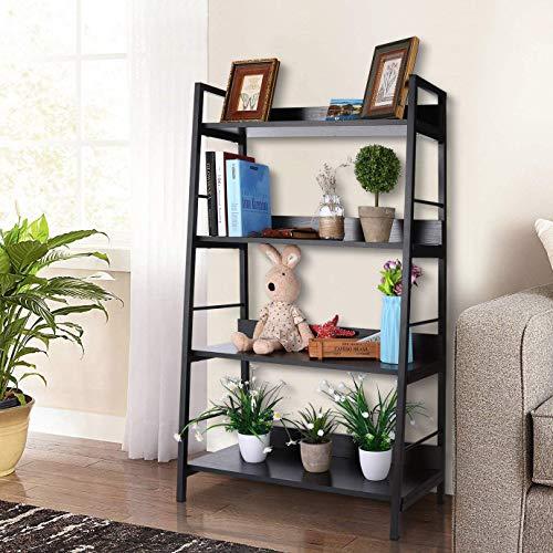 Bathwa Industrial 4-Tier Ladder Bookshelf Wood and Metal Bookcase Black Organizer Stand Rack Storage Ladder Shelves for Living Room Office Bathroom Kitchen, 4 Shelf