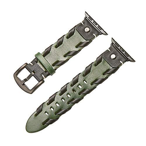 JWNCOAZS Cinturino in Pelle Intrecciata di Nuovo Design per Cinturino Apple Watch Series 5 4 3 2 Bracciale per iWatch 40mm 44mm 38mm 42mm Cinturino da Polso 40mm Arancione