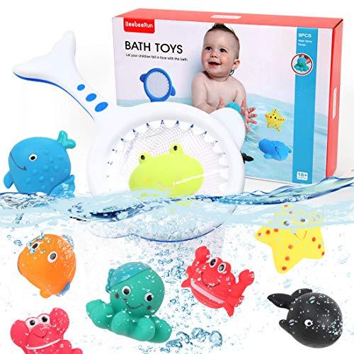 BeebeeRun 9 Piezas Juguete Baño Bebe Juegos de Pesca para Juguetes Bañera Animales Marinos Juguete Flotante para niños Niñito Bebé Muchachos Chicas
