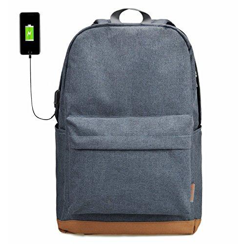 TINYAT Robuster Laptop-Rucksack USB Bussiness Bag Schulrucksack Travel Daypack für Damen und Herren, Canvas Nylon