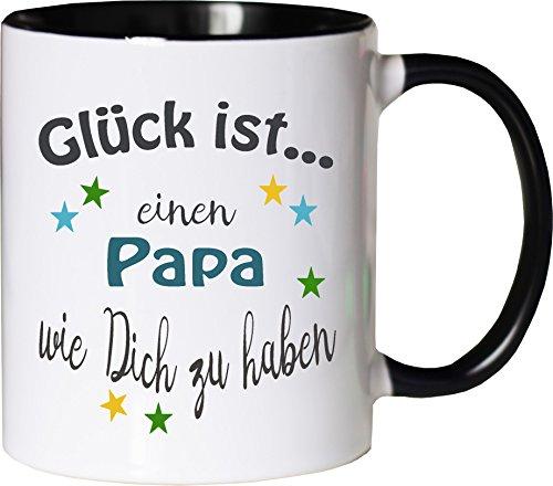 WarmherzIch Becher Tasse Glück ist… Papa Kaffee Kaffeetasse liebevoll Bedruckt Vater Vati Vatertag Vadder Weiß-Schwarz