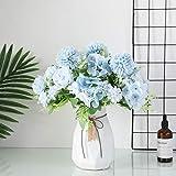 JUSTOYOU Confezione da 3 Bouquet di ortensie di peonia di Seta Artificiale Finto Carino Grave casa Primavera Bellissimo Fiore Artificiale di Ortensia per la Decorazione del Giardino di Nozze (Blu)
