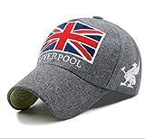 Sombrero versión Coreana de otoño e Invierno Gorro cálido para Hombres y Mujeres Gorra de béisbol de Lana Bordada con Bandera británica Gorra para Exteriores