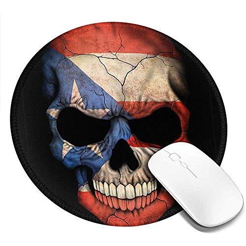 Computer Matte,Puertorikanische Flagge Schädel Puerto Rico Fahnen Lustige Druck Anti-Rutsch-Gaming-Pads Für Home-Pc-Dekoration 20x20cm