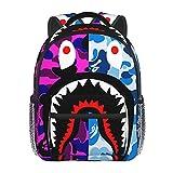 Bape Sac à dos léger pour enfant Motif requin et camouflage