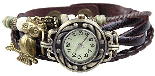 Boolavard® TM Uhr Leder Armbanduhr Armreif Damenuhr Lady Quarz Bracelet Beads Watch Geschenk Gift (Eule)