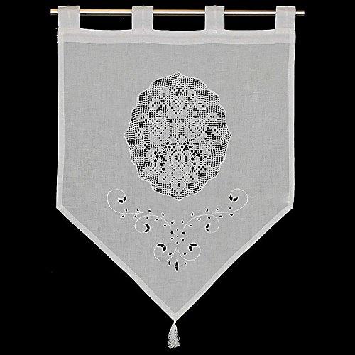 Raamdecoratie gordijn Hossner | 60x45 cm H/B | wit | 100% katoen