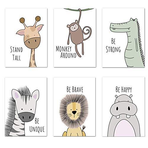 KAIRNE 6er Set Bilder Kinderzimmer Babyzimmer Deko,Tiere Poster Tiere für Jungen und Mädchen,Safari Waldtiere Wandbilder,Inspirierende Zitate Kinderposter für Kinderzimmer Schlafzimmer Dekor,20×25cm