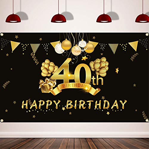 Happy 40th Birthday Background Banner, Extra Large (3.6 ft x 6 ft) Fabric Sign Poster for 40th Birthday Party, 40th Birthday Photo Booth Backdrop Banner, 40th Birthday Party Decorations Supplies