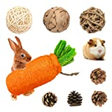 Rabbit Chew Toys, Pet Bunny Tooth Chew Toys, Rolling Play Balls and Loofah Carrot Gnawing Treats, 100% Natural Material for Bunny, Chinchilla, Guinea Pigs, Hamsters Teeth Grinding/Playing (8 Pack)