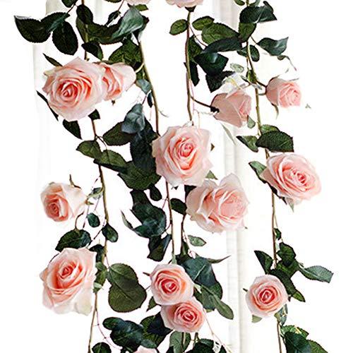 Nouveau rose guirlande de fleurs en soie guirlande nuances qualité 180 cm de long