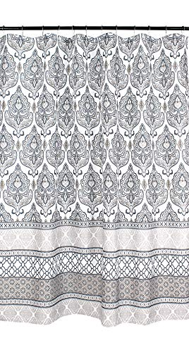 Charcoal Grey Tan White Fabric Shower Curtain: Floral Damask with Geometric Border Design