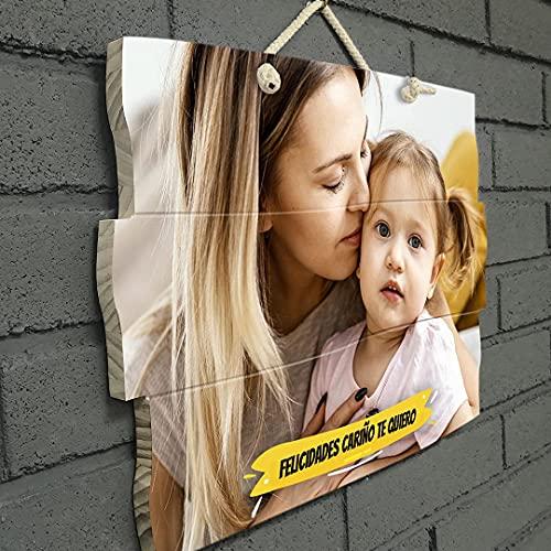 Cuadro personalizado con foto, impresión foto en madera natural con texto editable para felicitaciones. Regalos personalizados.