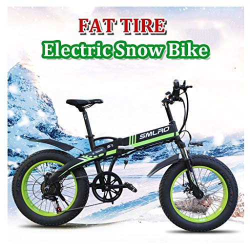 26inch Adult Snow Electric Bike for Beach and Mountains 350W Foldable Electric Bicycle with LCD Screen and 48V 10Ah Removable Battery(Color:Blue) (Color : Green, Size : 36V-10Ah)
