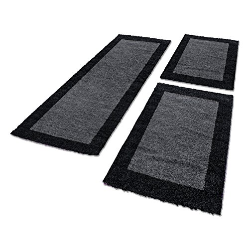 Shaggy Hochflor Teppich Carpet 3TLG Bettumrandung Läufer Set Schlafzimmer Flur, Farbe:Marineblau, Bettset:2x60x110+1x80x150