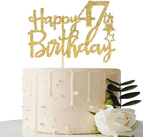 Decoración para tarta de cumpleaños 47 con purpurina dorada, 47 adornos para tartas, suministros para fiesta de cumpleaños 47, decoraciones para fiestas de cumpleaños 47