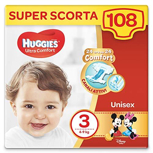 Huggies Pannolini Ultra Comfort, Taglia 3 (4-9 Kg), Confezione Da 108 Pannolini (3x36) - 3440 gr