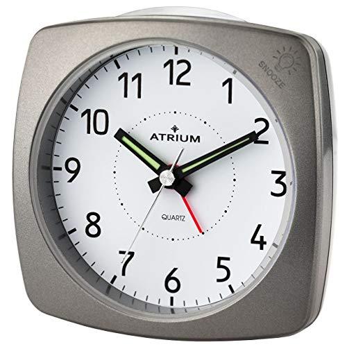 ATRIUM Wecker analog metallic anthrazit ohne Ticken, mit Licht und Snooze A251-4