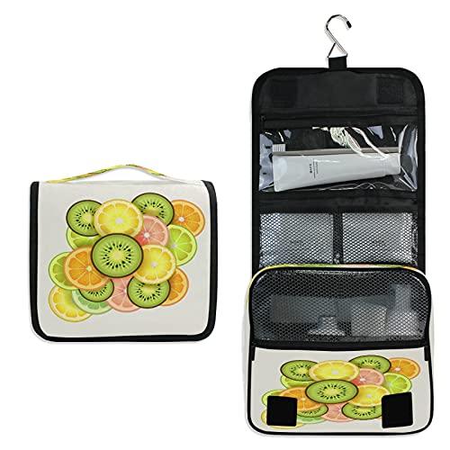 Kiwi Trousse de Toilette à Suspendre Rangement MaquillageSac Voyage Portable Pliable Salle de Bain Trousse de Cosmétique pour Femmes Filles
