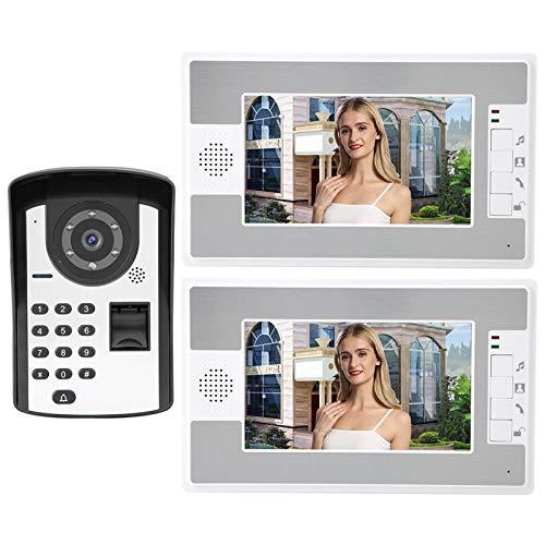 Videoportero Video Doorbell Video Doorbell Kit 7in LCD Cableado De Video Teléfono Teléfono Intercomunicador Timbre Timbre De Huellas Dactilares Contraseña Desbloqueo Remoto 1V2 Tapón De EE. UU.