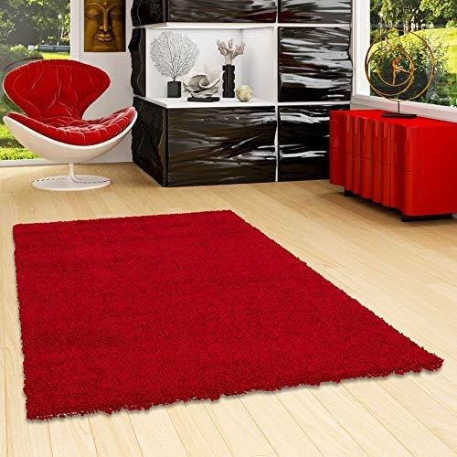 Aloha - Alfombra de pelo largo y denso - Rojo - 7 tamaños