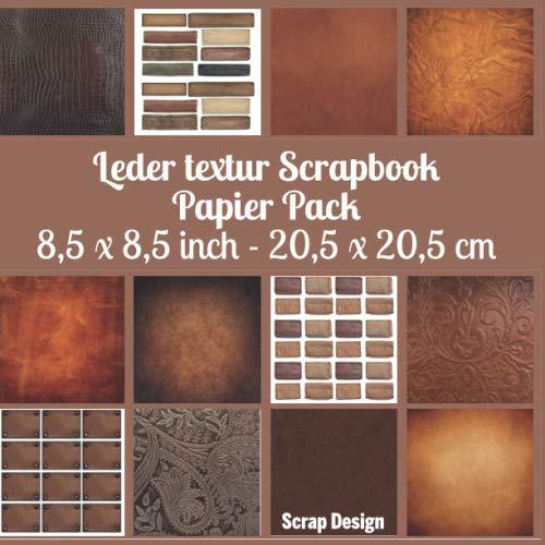 Leder textur scrapbook papier pack 8,5 x 8,5 inch 20,5 x 20,5 cm