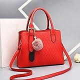 Mdsfe Bolsos Grandes de Mujer Bolso de Hombro Casual de Cuero de la PU BolsosCruzados paraMujer Bolsos de Mujer de Gran CapacidadBolso de Mujer - Rojo, 30x13x22cm