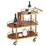 Carrito de bar Carrito de almacenamiento de cocina Estante de vino de madera maciza de 3 niveles con ruedas Kicthen Bar Comedor Té Soporte para vino Carrito de barra rodante Muebles Cocina Carrito de