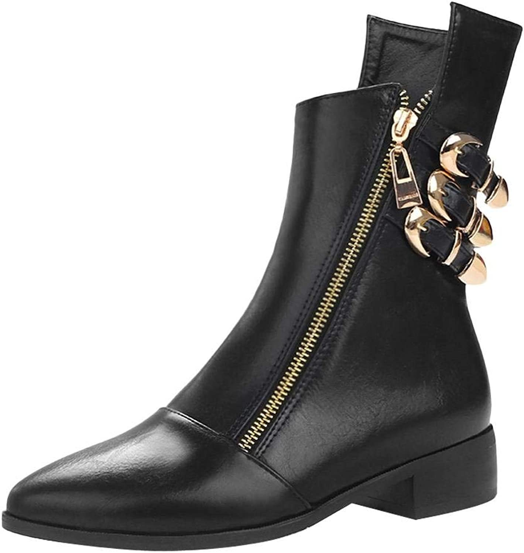 Ghssheh Women's Western Zipper Pointed Toe Low Heel Short Boots Black 5 M US