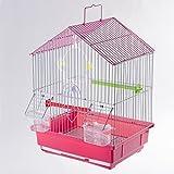 Wedestock Cage à Oiseaux avec bac Amovible et perchoirs Coloris Rose 30x27x39cm