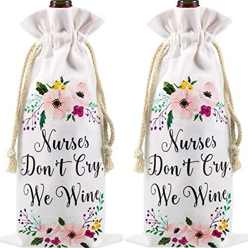 2 Stück Krankenschwester Weinbeutel, Krankenschwestern Weinen Nicht Wir Wein Leinwand Tasche, Lustige Krankenpflege Abschluss Geschenke für Frauen, Krankenschwester Woche Weinflasche Geschenke Tasche