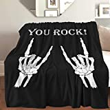 AIBILEEN Skeleton Finger You Rock Throw Blanket Cozy Warm,Thick Velvet Blanket for Couch Bed Living Room S 50'X40'